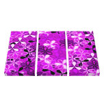 Púrpura, flores blancas del negro impresiones en lienzo estiradas