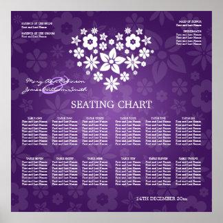 Púrpura florida del corazón del boda de la carta póster