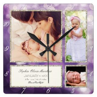 Púrpura fotográfica personalizada de la niña del reloj cuadrado