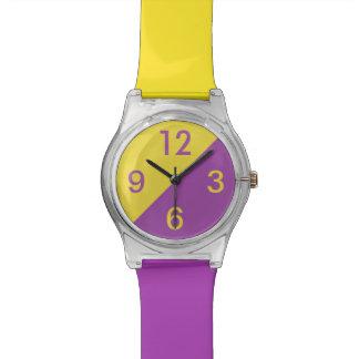 Púrpura fresca del amarillo de los bloques del col reloj