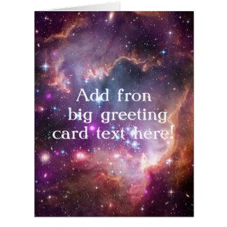 Púrpura galáctica del espacio exterior tarjeta de felicitación grande