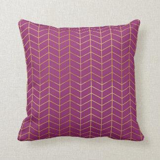 Púrpura Geo de la hoja de oro del modelo de la Cojín