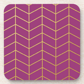 Púrpura Geo de la hoja de oro del modelo de la Posavasos De Bebidas