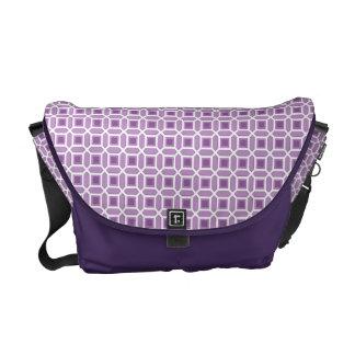Púrpura geométrica del modelo del círculo bolsa de mensajería
