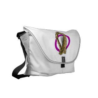 Púrpura gráfica ring.png de la arpa adornada bolsas de mensajeria