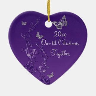 Púrpura gris nuestro 1r ornamento del recuerdo de ornamento de reyes magos