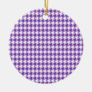 Púrpura Houndstooth de la uva Adorno De Navidad