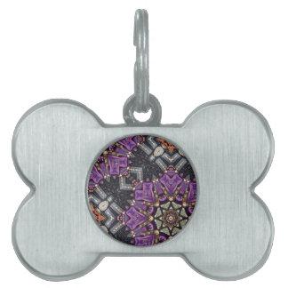 púrpura intrépida del oro bling el modelo placas de nombre de mascota