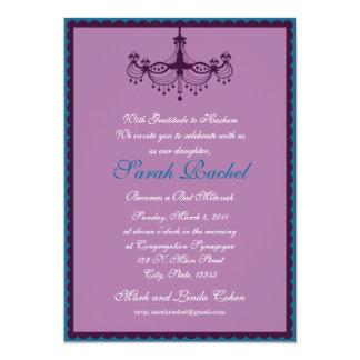 Púrpura - invitación azul de la lámpara