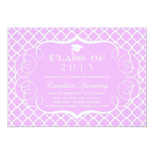 Púrpura + invitación blanca de la graduación del invitación 12,7 x 17,8 cm