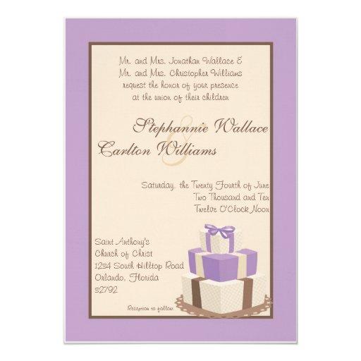 """Púrpura/invitación del pastel de bodas de Brown Invitación 5"""" X 7"""""""