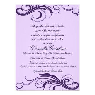 púrpura invitaciones de quinceanera card