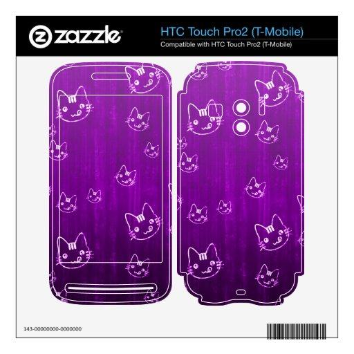 Púrpura japonesa del gato del neko femenino lindo  HTC touch pro2 skin