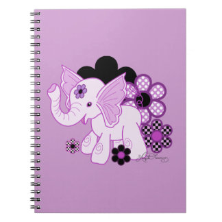 Púrpura linda del elefante de Kawaii Libro De Apuntes