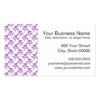 Púrpura linda del estampado de flores sobre blanco tarjetas de visita