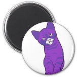 Púrpura linda del gatito iman para frigorífico