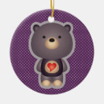 Púrpura linda del oso ornamento de navidad