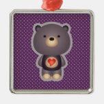 Púrpura linda del oso ornamentos para reyes magos