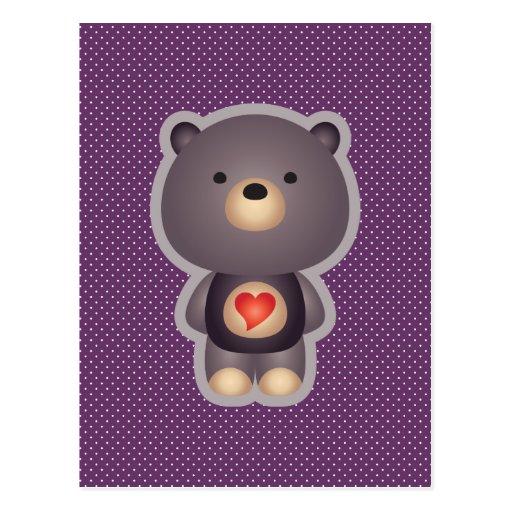 Púrpura linda del oso tarjeta postal