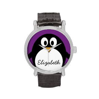 púrpura linda del pingüino del dibujo animado reloj