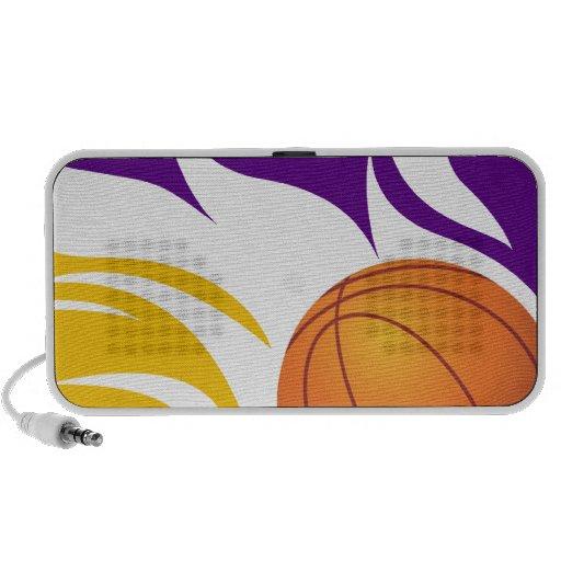 Púrpura llameante y oro del baloncesto iPod altavoces