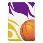 Púrpura llameante y oro del baloncesto iPad mini funda