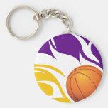 Púrpura llameante y oro del baloncesto llaveros personalizados
