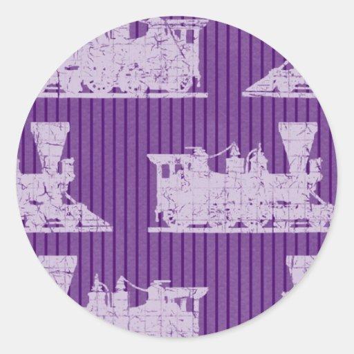 Púrpura locomotora del vintage pegatina redonda