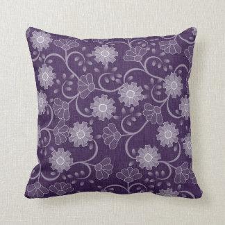 Púrpura magnífica y lavanda del vintage florales cojín