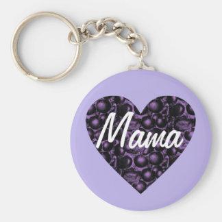 Púrpura/mamá atractiva Keychain del corazón de la Llavero Redondo Tipo Chapa