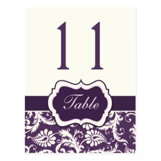 Púrpura, marfil, número rosado de la tabla del tarjeta postal