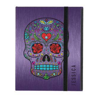 Púrpura metálica con el cráneo colorido del azúcar