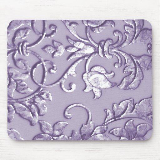 Púrpura metálica grabada en relieve del damasco alfombrillas de raton
