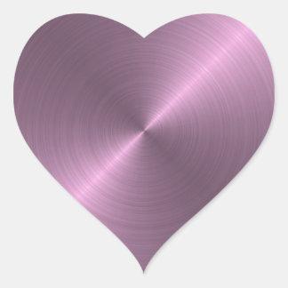Púrpura metálica pegatina en forma de corazón