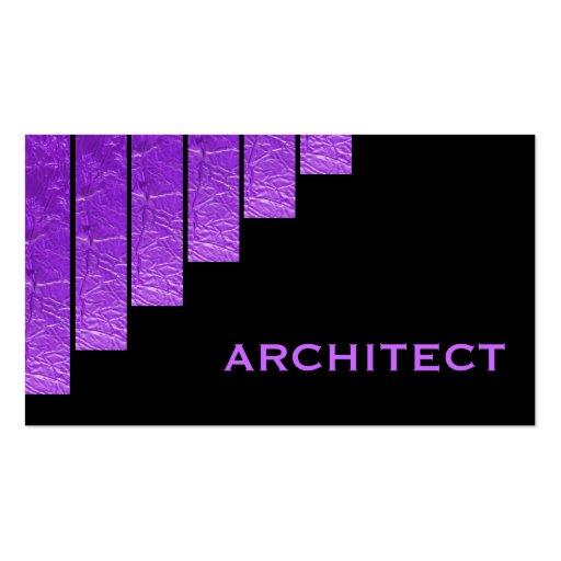 Púrpura moderna, arquitecto negro de las rayas tarjetas de visita