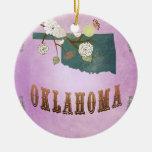 Púrpura moderna de la Mapa-Uva del estado de Oklah Adorno De Navidad