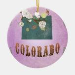 Púrpura moderna de la uva del mapa del estado de C Ornamento Para Arbol De Navidad