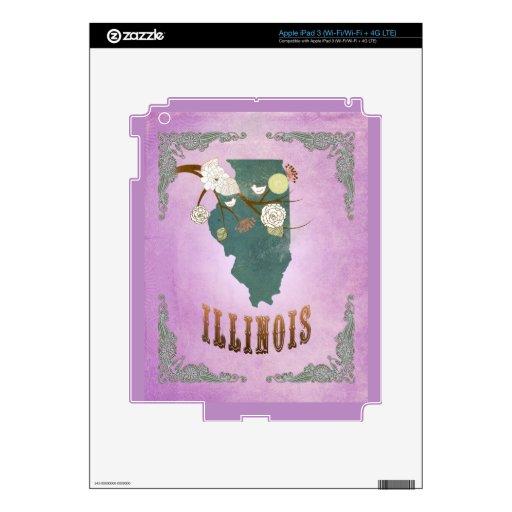 Púrpura moderna de la uva del mapa del estado de I iPad 3 Skins