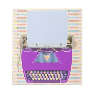 Púrpura moderna de los mediados de siglo retros bloc de notas