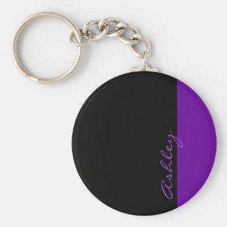 Púrpura moderna personalizada 519 llaveros