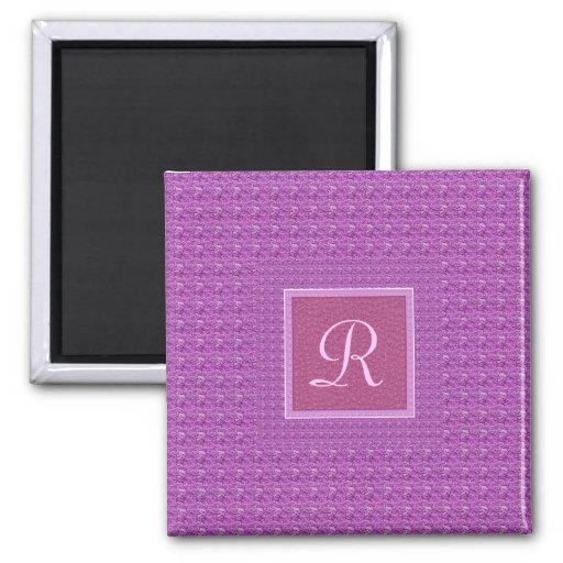 Púrpura (monograma de la letra R) Imán Cuadrado