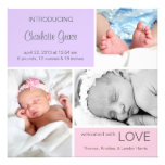 Púrpura múltiple del nacimiento Announcement//Pink Comunicados Personales