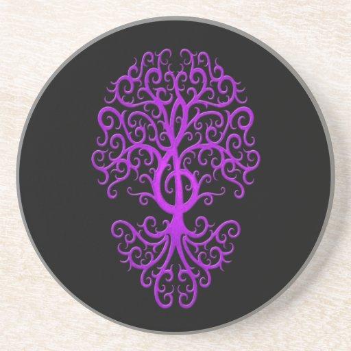 Púrpura musical del árbol del Clef agudo en negro Posavasos Personalizados