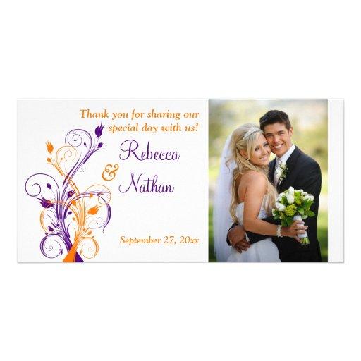 Púrpura, naranja, tarjeta floral blanca de la foto tarjeta personal con foto