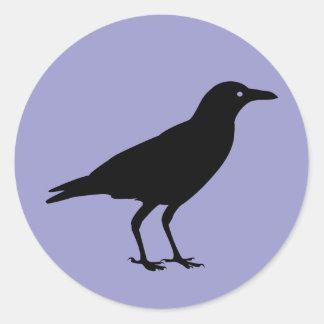 Púrpura negra Halloween del cuervo Pegatina Redonda
