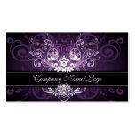 Púrpura negro elegante y el blanco entona el marco tarjetas de negocios