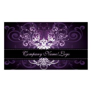Púrpura negro elegante y el blanco entona el marco tarjetas de visita