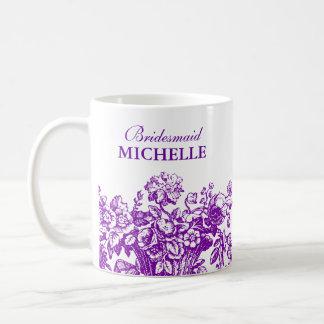 Púrpura nupcial de la cesta floral del favor de la taza de café