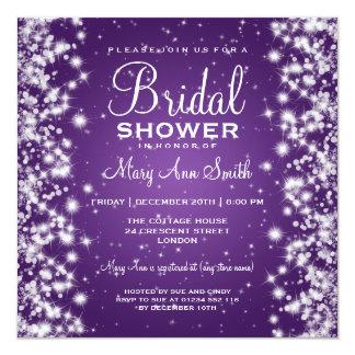 Púrpura nupcial elegante de la chispa del invierno invitación 13,3 cm x 13,3cm