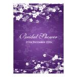 Púrpura nupcial elegante de la flor de cerezo de l invitacion personal
